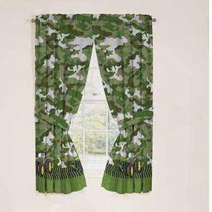2 Camo John Deere Boys Bedroom Curtain Panels EUC